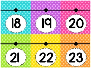 Number Line 0-100 (Bright Polka Dots)