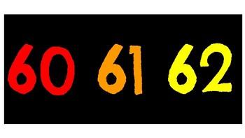 Number Line 0-100 small & large black/rainbow
