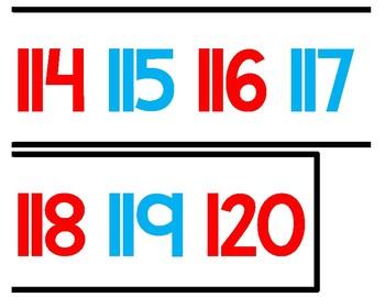 Number Line 0-120 (Even & Odd)