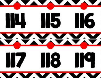 Number Line (0-125) - Black & White Chevron