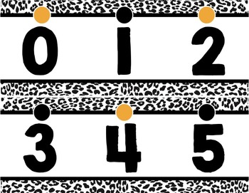 Number Line (0-125) - Black & White Leopard Print