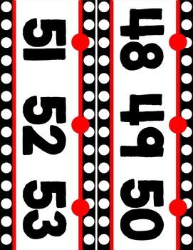 Number Line (0-125) - Black & White Polka Dot