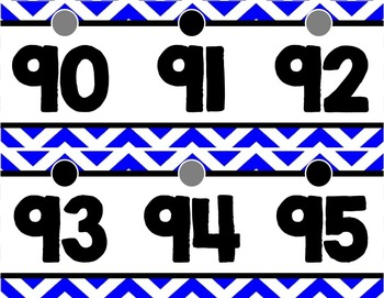 Number Line (0-125) - Blue & White Chevron
