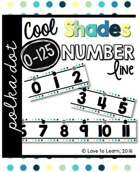 Number Line (0-125) - Cool Shades Polka Dot