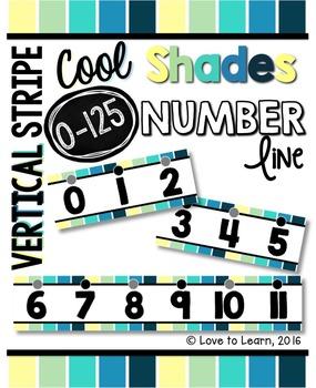 Number Line (0-125) - Cool Shades Vertical Stripes