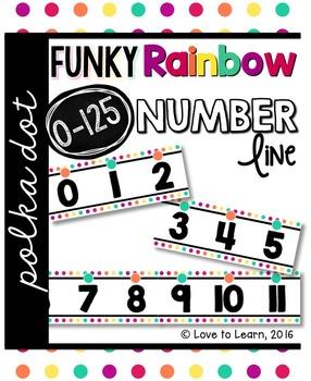 Number Line (0-125) - Funky Rainbow Polka Dot