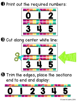 Number Line (0-125) - Funky Rainbow Vertical Stripes