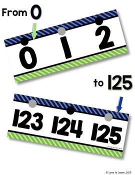 Number Line (0-125) - Navy & Lime Diagonal Stripe