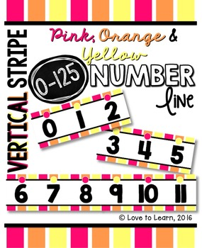 Number Line (0-125) - Pink, Orange & Yellow Vertical Stripes