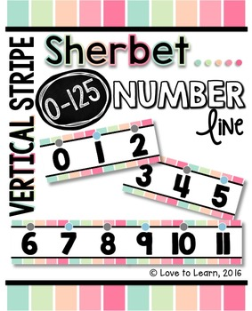 Number Line (0-125) - Sherbet Vertical Stripes
