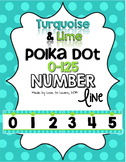 Number Line (0-125) - Turquoise & Lime Polka Dot