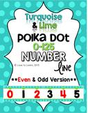Number Line (0-125) - Turquoise & Lime Polka Dot {Even & Odd Version}