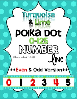 Number Line (0-125) - Turquoise & Lime Polka Dot {Even & O