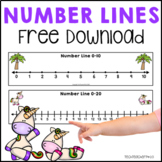 Number Lines 0 to 20 Unicorns Stars Construction Pirates FREE DOWNLOAD