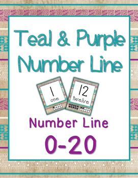 Number Line 0-20 - Teal & Purple Tribal