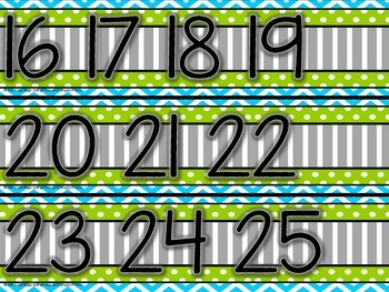 Number Line 0-200 Blue, Lime Green, Gray Themed