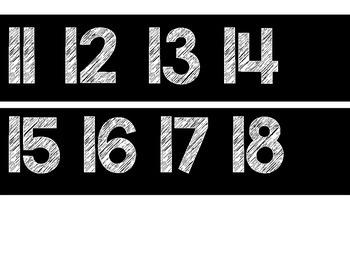 Number Line 0-200 Chalkboard Theme: Black & White