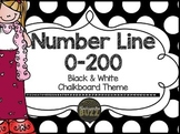 Number Line 0-200 Chalkboard Theme: Black & White