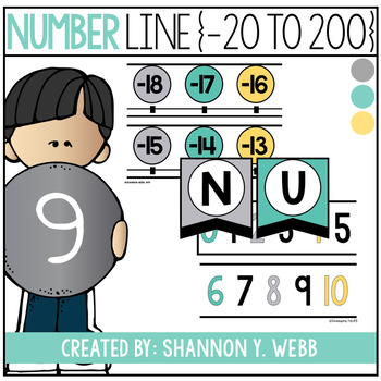 Number Line 0-200 (Teal, Gray, & Yellow)