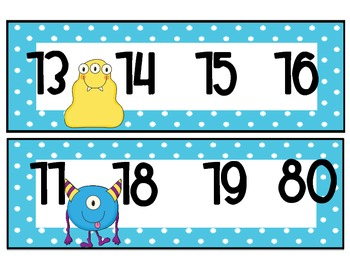 Number Line 1-100 Monster Themed