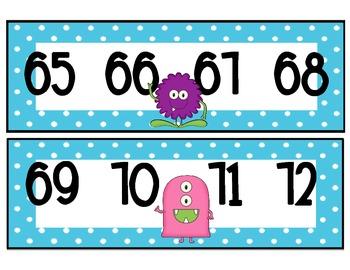 Number Line 1-100 Monster Themed