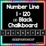 Classroom Decor Number Line 1-120 on Black Chalkboard