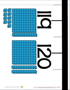 Number Line 1-120 with Base Ten Blocks for Classroom Wall