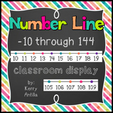 Number Line -10 through 144 Classroom Display