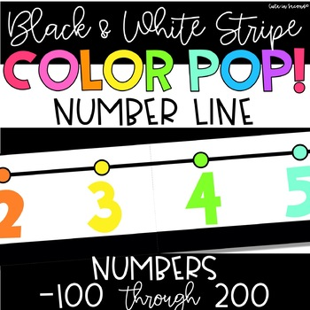 Number Line -100 to 200 Black and White Stripe Color POP! Classroom Decor