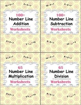 Number Line Worksheets Bundle - Addition, Subtraction, Mul