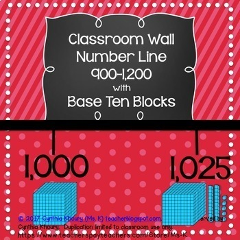 Number Line 900-1200 with Base Ten Blocks for Classroom Wall