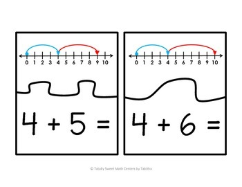 Number Line Addition Self-Checking Puzzles Sums to 10