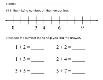 Number Line Addition Worksheet
