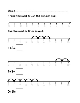 Number Line Addition to 10 Sample