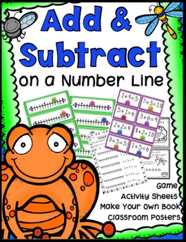 Addition & Subtraction on a Number Line Game, Worksheets, Book, Anchor Charts