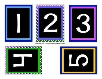 Classroom Decor Labels - Number Line - BRIGHT