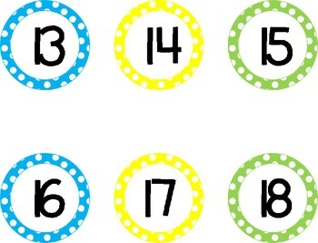 Number Line - Blue, Yellow, Green Style