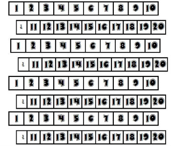 Number Line Boxes 1-20 for students