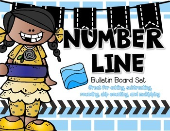 Number Line Bulletin Board with Blue Accents