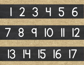 Number Line {Burlap and Chalkboard}