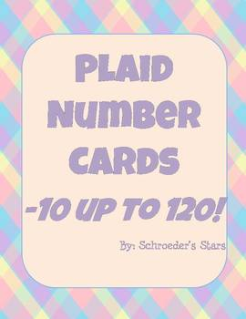 Number Line Cards: -10 through 120