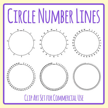 Number Line Circles Clip Art Set for Commercial Use