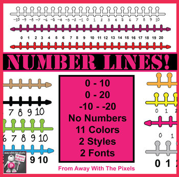 Number Line Clip Art, 0-10, 0-20 & -10 - +10 from Away With The Pixels