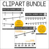 Fraction Number Lines Clipart BUNDLE {Fractions, Decimals, Percentages}