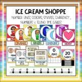 Number Line, Colors, Shapes, Numbers, and Telling Time Labels - Ice Cream Shoppe