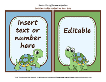 Number Line - Coordinates with Turtle Time Classroom Theme