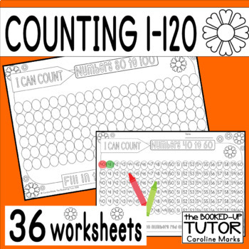 Counting 1-100 Missing Number Flower Theme Summer 31 Worksheets