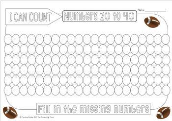 Number order {numbers 1-100} {soccer}