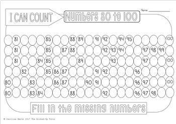 Counting 1-100 Missing Number BUNDLE 72 worksheets No Prep