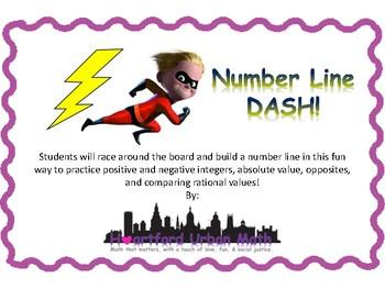 Number Line DASH! Negatives, number lines, absolute value, & opposites!
